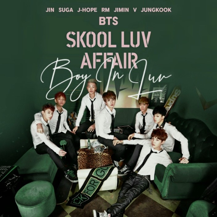 This is an image of the BTS album, 'Skool Luv Affair'. The boys are dressed in black and white suits, without the blazers.