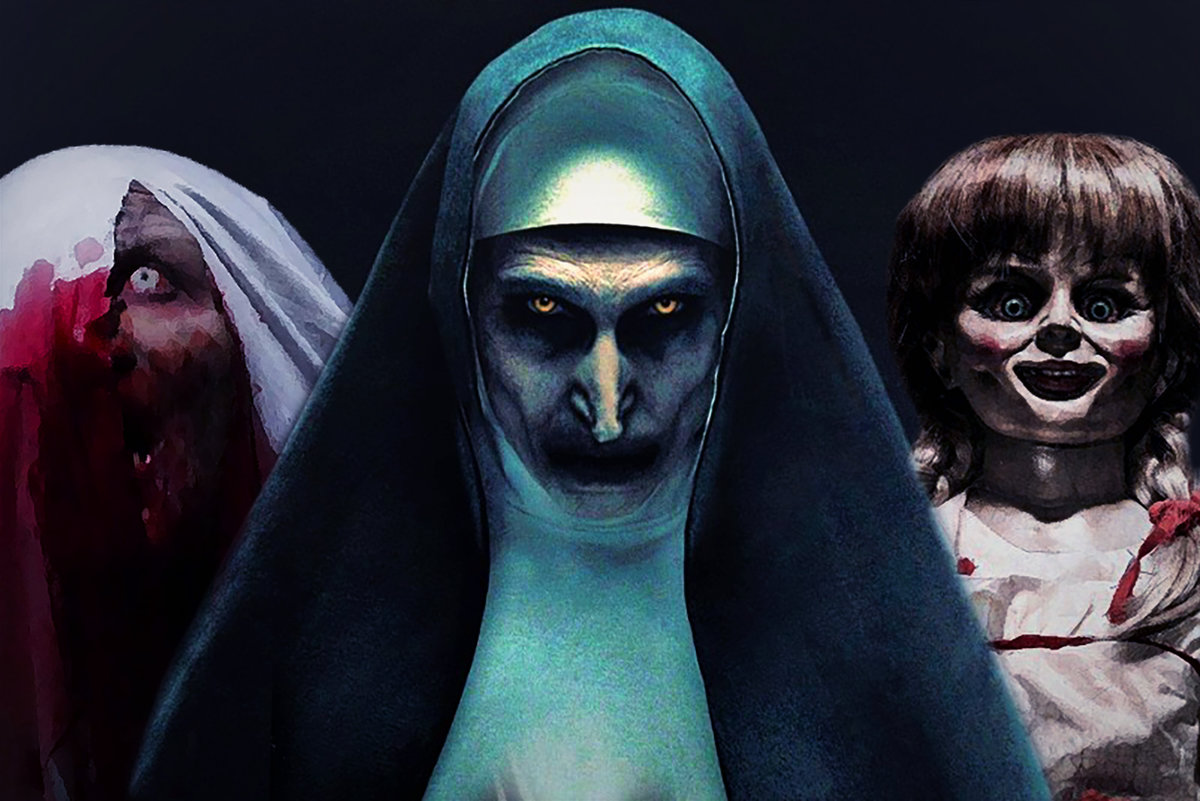 In this image, a scary nun with glowing yellow eyes is in the middle. To the right is the infamous Annabelle doll from the film. On the left is the mother from the first Conjuring film when she was possessed, a white bed blanket covering half her face.