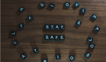 """In this image, someone has used Scrabble letter pieces to create the sentence """"STAY SAFE"""""""
