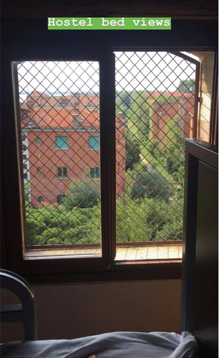 This is an image of Emma's Instagram story. Emma took a photo of the hotel window where she stayed.