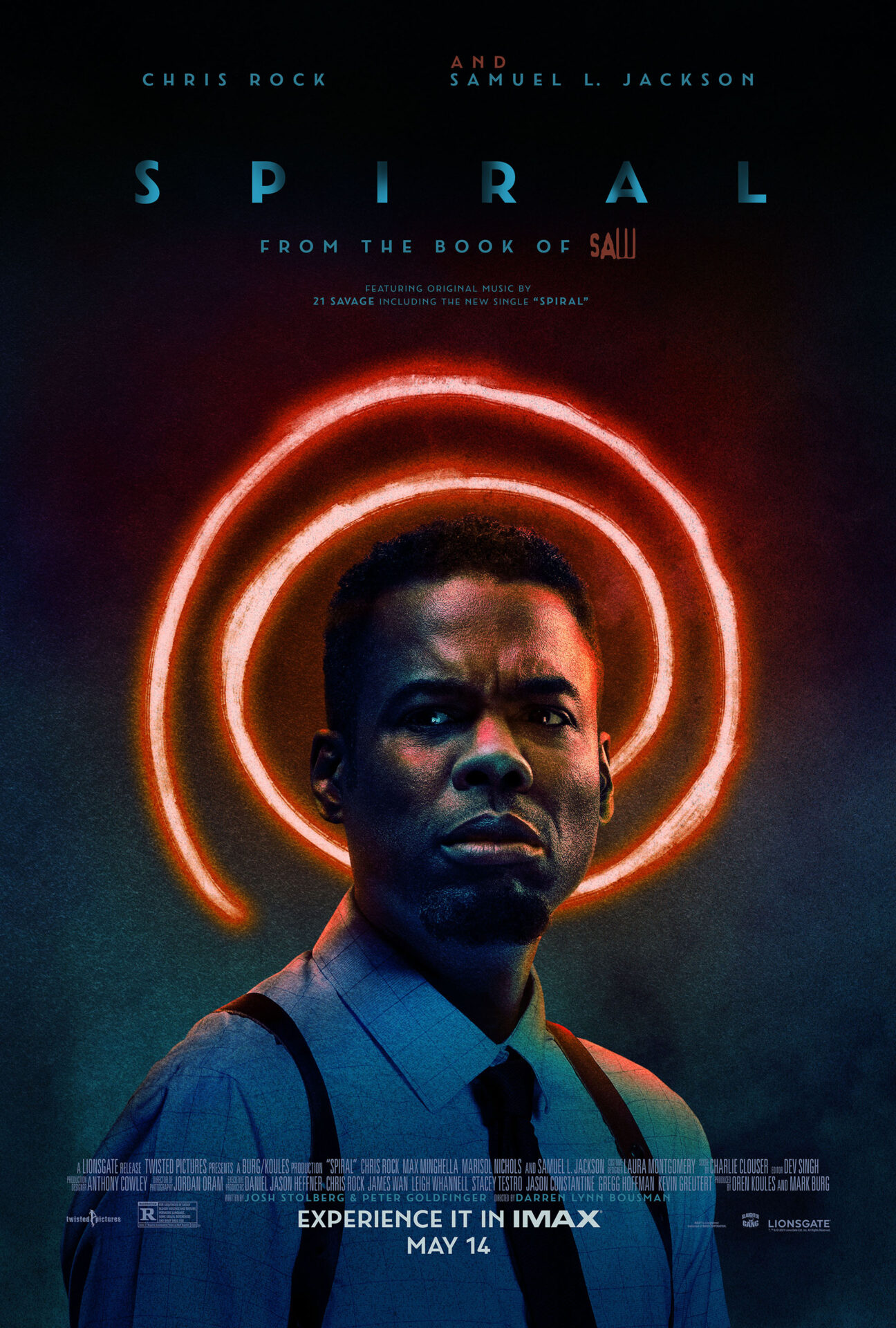 This is an image of the Spiral movie poster. Chris Rock is looking slightly to the left and behind him is an orange, lit up spiral.