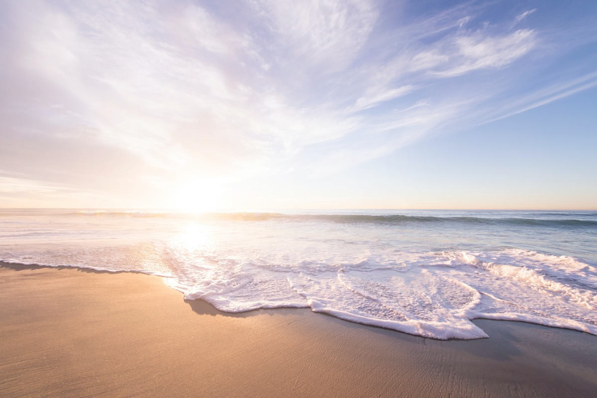 This image shows the beach at sunrise.