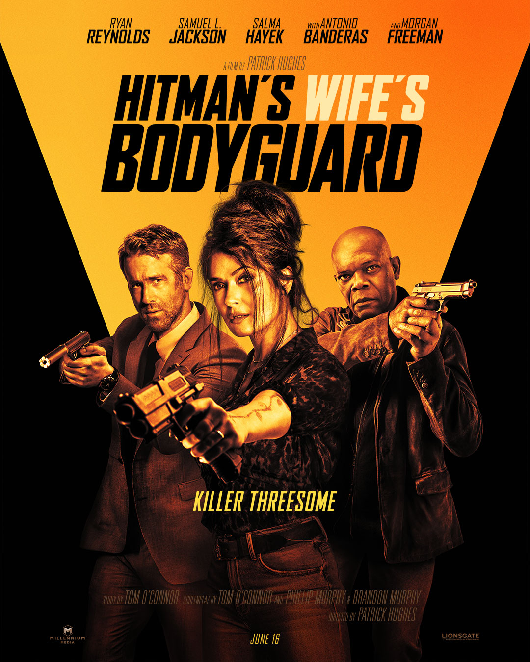 This is the movie poster for the film. The three actors, and actress, are holding guns