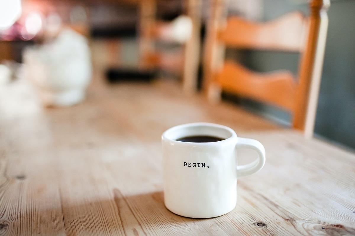 This image shows a mug on a coffee table.