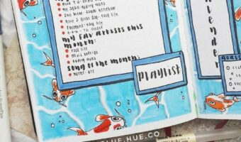 This is an image from Rachel's Instagram. The image is of a playlist list Rachel has written in her bullet journal. She has decorated the page by drawing and painting it like it is underwater and there a bright orange koi fish.