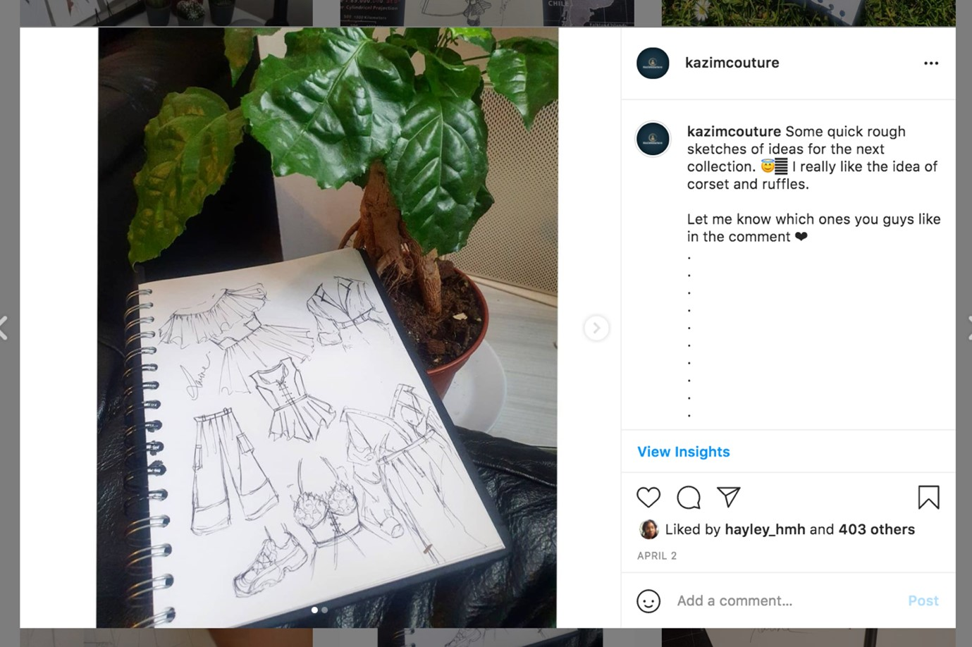 This image is of Ravina's designs. Ravnia has some blank sketches of different garnments on a sketchbook. This image is taken from Ravina's Instagram.