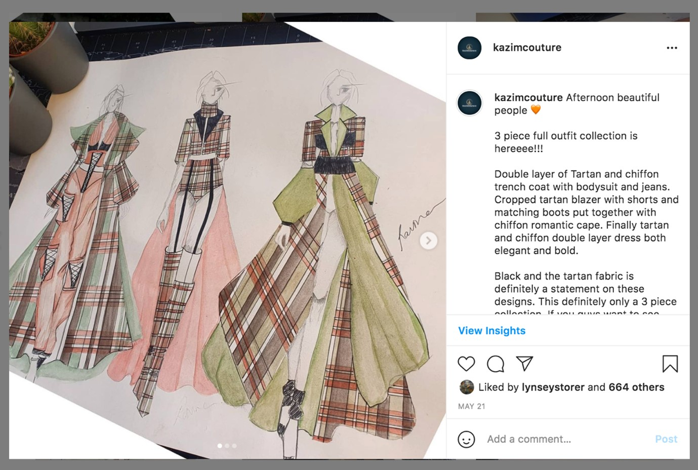 This is an image of Ravina's designs. Ravina has sketched some pink, green and brown tartan designs on a sketchbook. This imahe was taken from Ravina's Instagram.