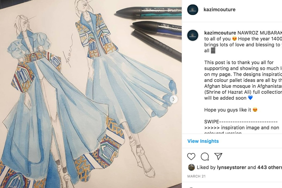 This is an image of Ravina's designs. Ravina has drawn two blue designs. The image was taken from her Instagram account.