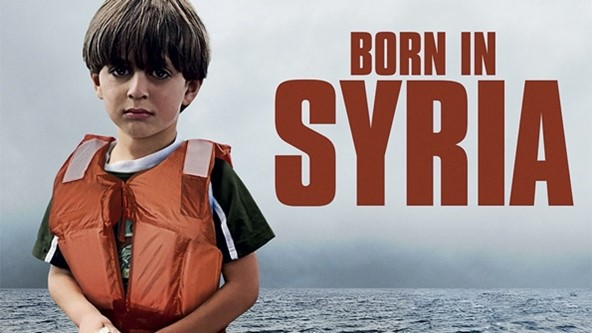 This is an image of the title screen of the documentary, Born in Syria. It shows the title in red and the ocean behind it. To the left of the title is a child in a floating jacket.