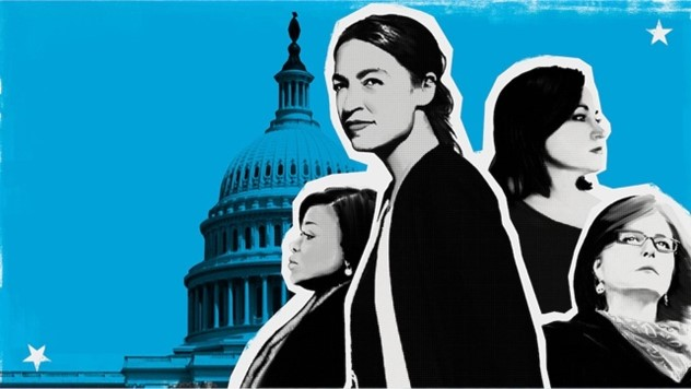This image has a blue background with women in power on top.