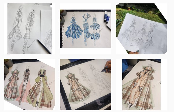 This image consists of six of Ravina's fashion designs. They are all drawn on paper and coloured in.