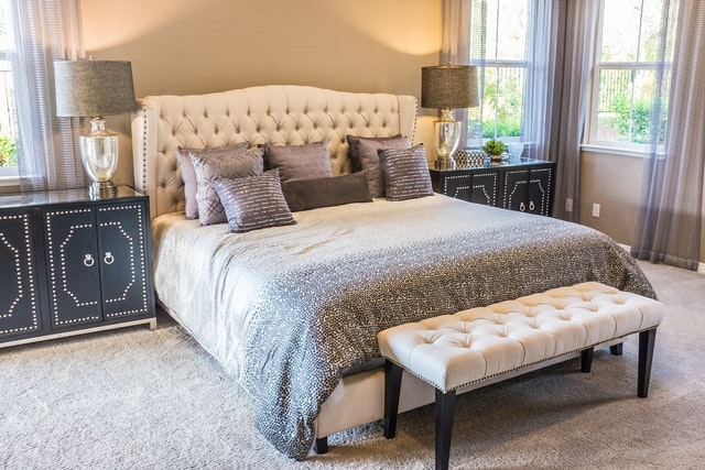 This is an image of a luxurious bedroom.