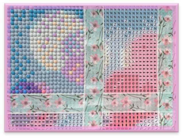 In this image, an image is sectioned into small squares by colour so the right colour diamond goes on the right place. Washi tape has been used to section the painting.