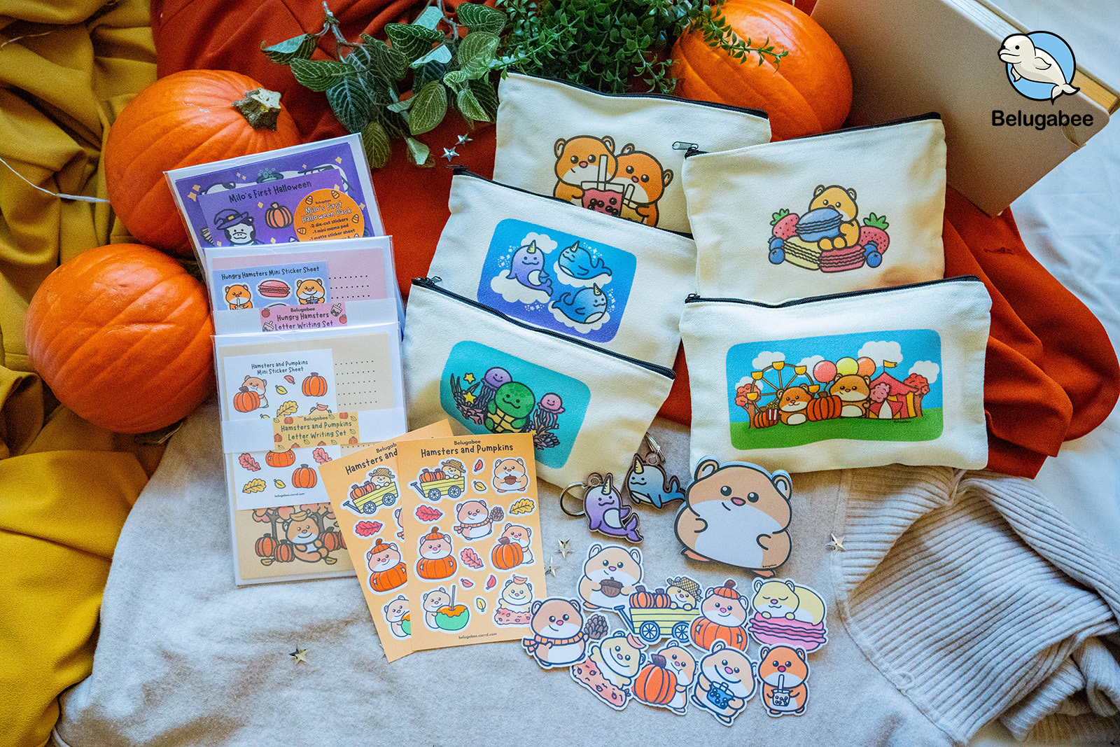 This image showcases some of the products they sell. Such as stickers, stationary and pencil cases.
