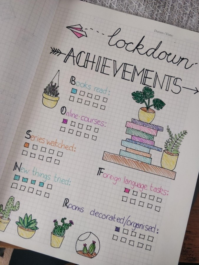 A lockdown achievements spread has been drawn in a bullet journal. Jess has drawn multiple plants on the page as well as a stack of books.