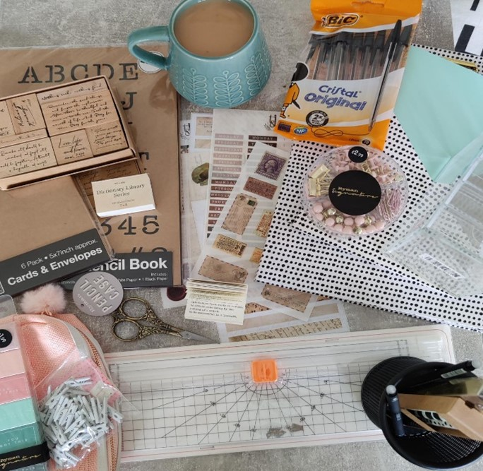 In the image, Jess has gathered together some of the equipment and accessories she uses when it comes to bullet journaling.
