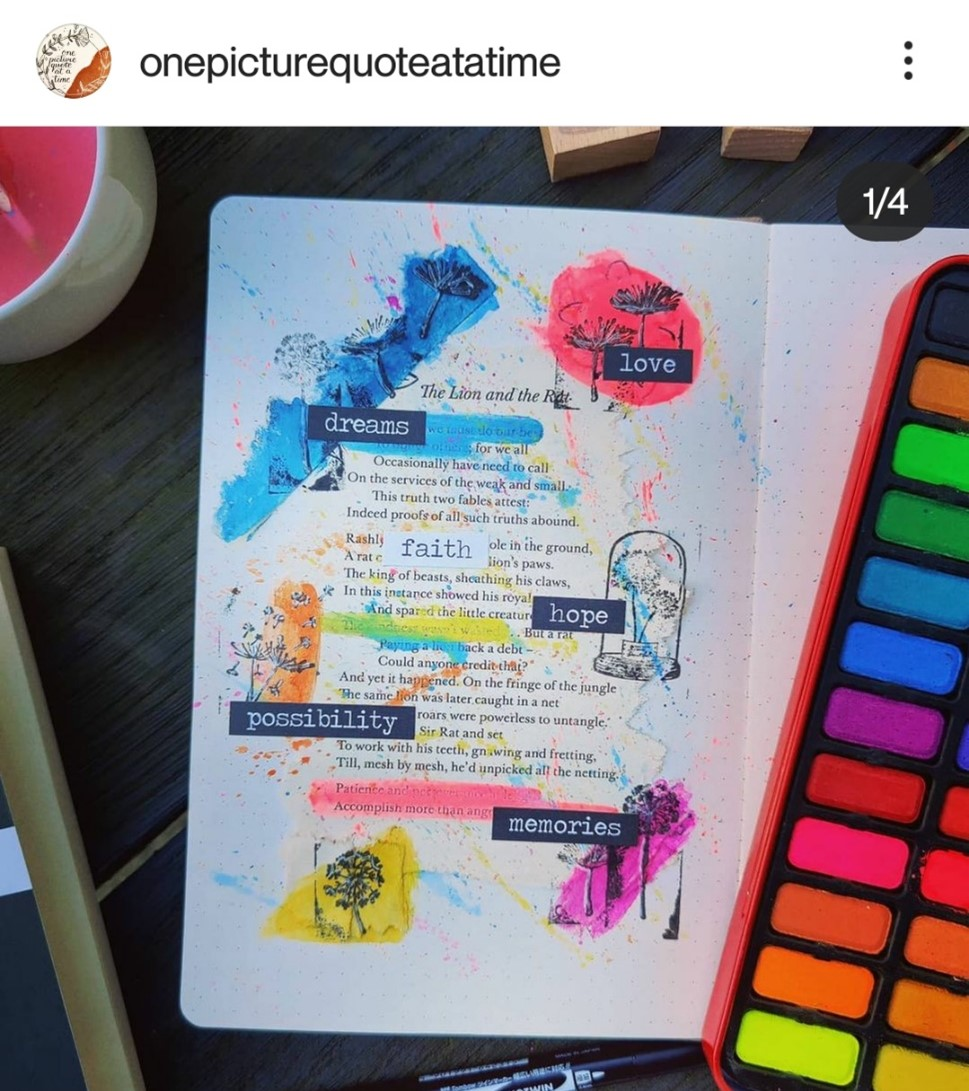 In this image, Jess has painted a page of her bullet journal using primary colours.