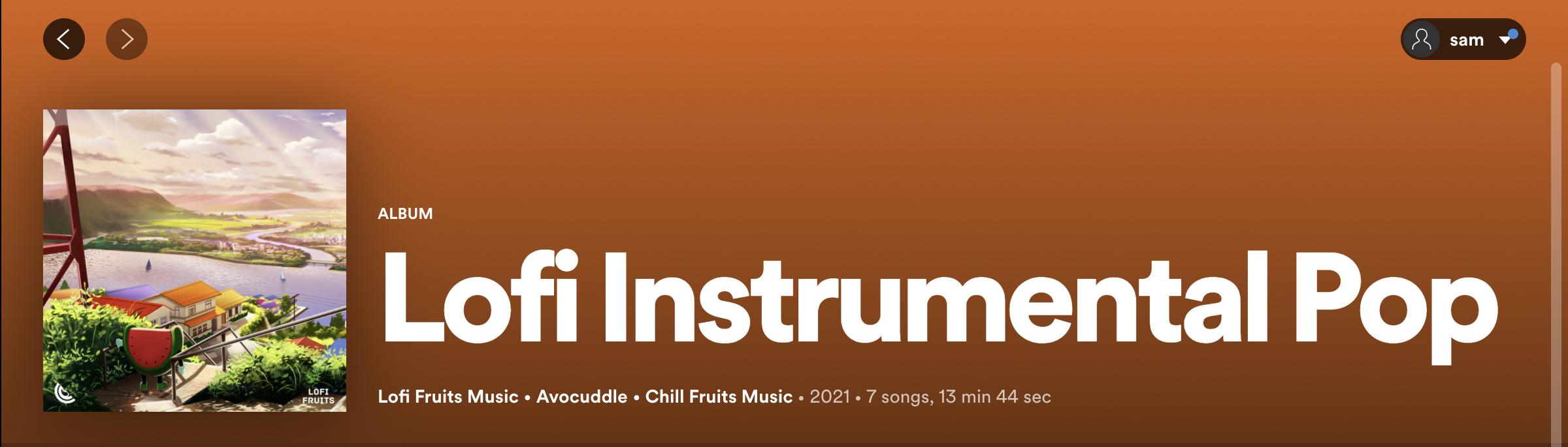 """A screenshot taken from Spotify of the playlist """"Lofi Instrumental Pop""""."""