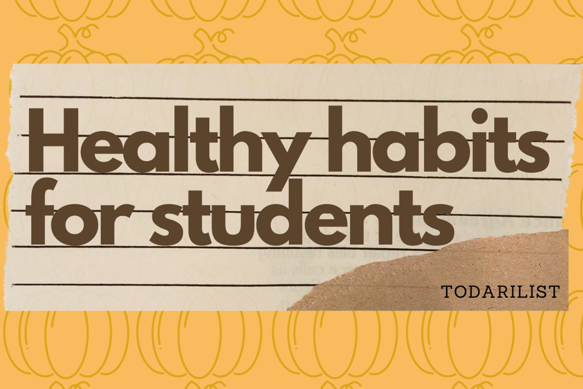 """In this image, there is a ripped piece of lined paper that has """"healthy habits for students' written across it. The background is orange with an outline of pumpkins on it."""