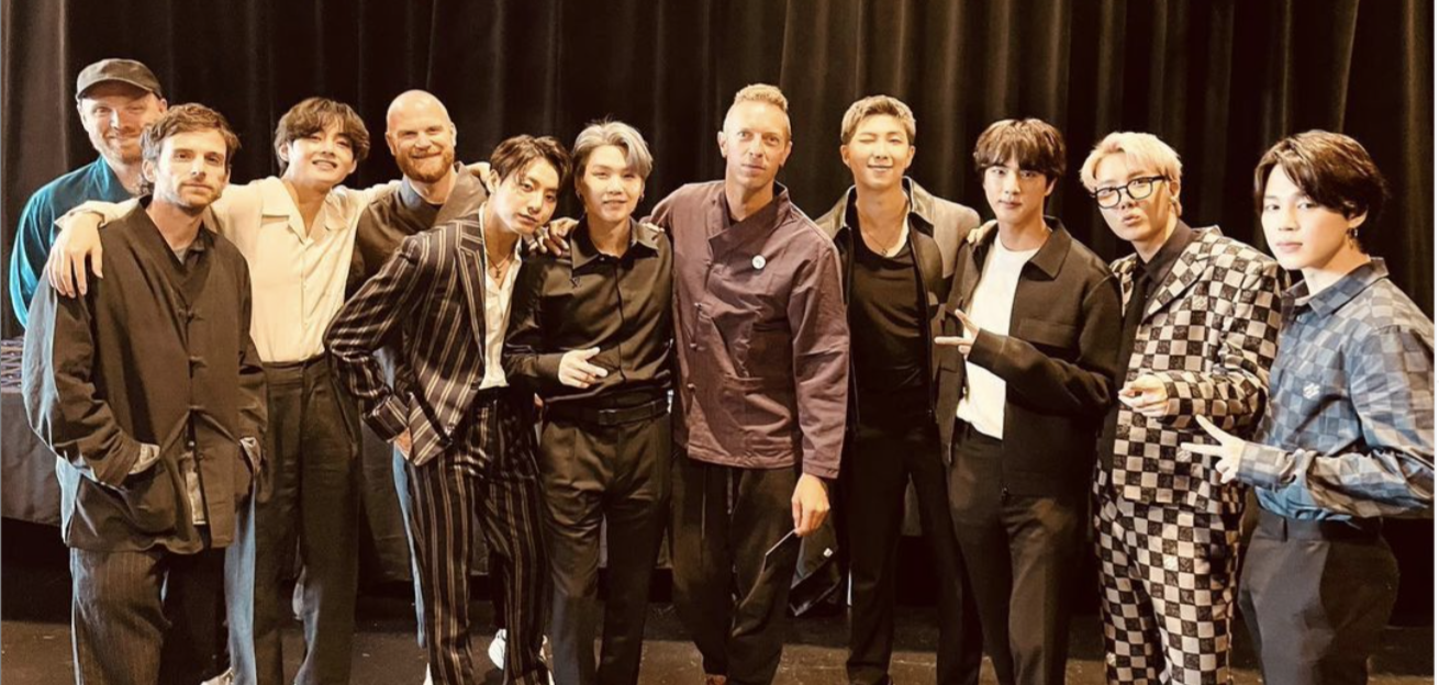 This is an image of BTS and Coldplay taken in New York at the artists second meeting.